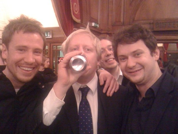 Glenn FIsher with Boris Johnson and copywriter James Woodburn